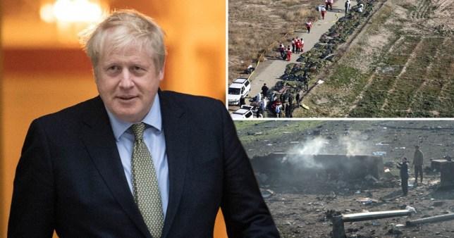 Boris Johnson (left) and aftermath of Ukranian airliner crashing near Tehran, Iran