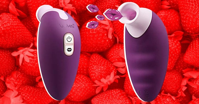 The Luvkis sex toy on a red background with strawberries