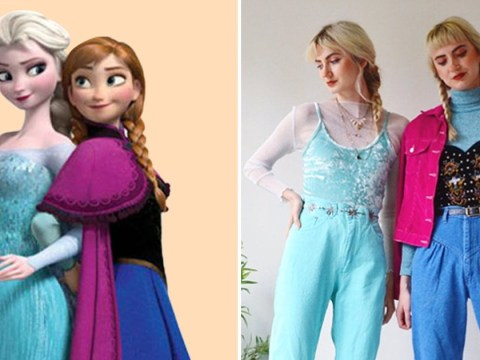 Twins dress up as modern versions of classic Disney characters using vintage fashion