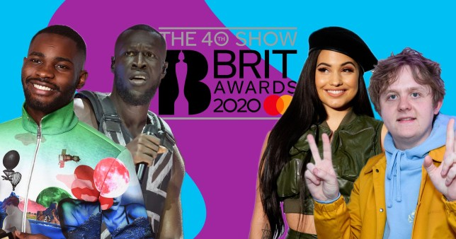 Dave, Stormzy, Mabel and Lewis Capaldi and the BRIT Awards 2020 logo