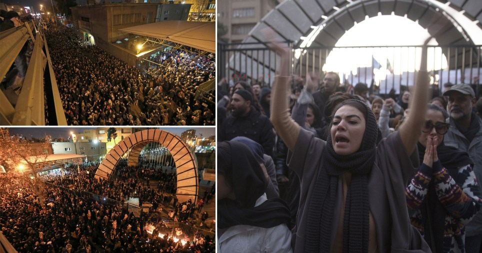 Protesters in Tehran, Iran after the regime admitted to shooting down a Ukranian airliner