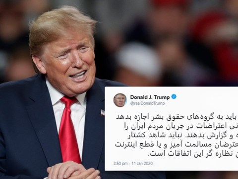 Donald Trump tweets warning to Iran in Farsi that the 'world is watching'