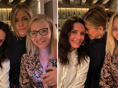Jennifer Aniston has mini-Friends reunion with 'girls across the hall' Courteney Cox and Lisa Kudrow