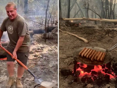 Hero Aussie cooks 'perfect' lamb roast in wildfire ashes