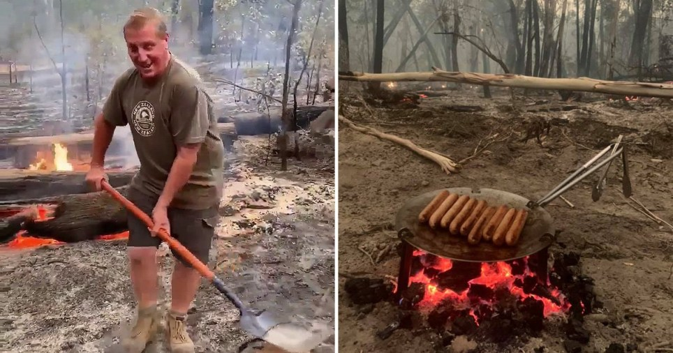 A man has been hailed a legend after cooking a roast lamb in the ashes of bushfire