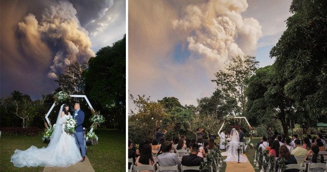 shots of the couple marrying in Philippines with volcano in background