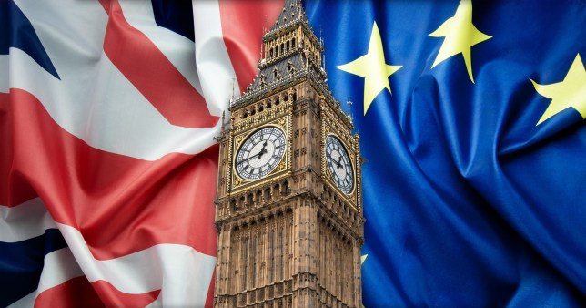Big Ben against a backdrop of Union Jack and European Union flag
