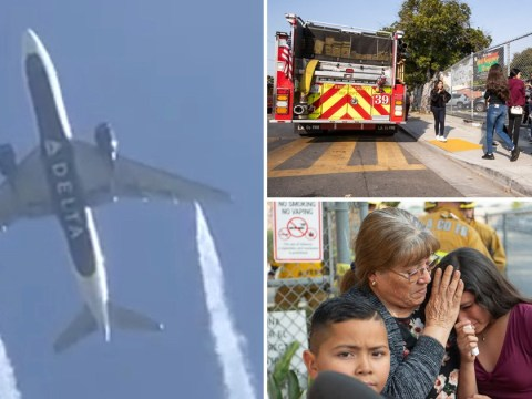 Children seen leaving school in tears after plane fuel dumped on playground