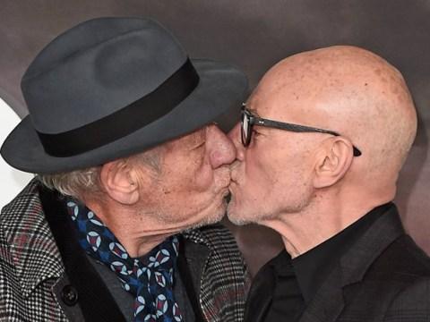 Patrick Stewart celebrates Picard launch by kissing BFF Ian McKellen at premiere