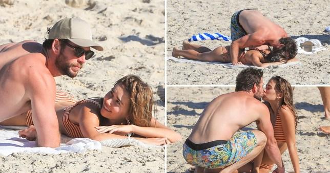 Liam Hemsworth kissing Gabriella Brooks