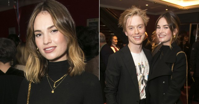 Lily James and Freddie Fox pictured at theatre event in London