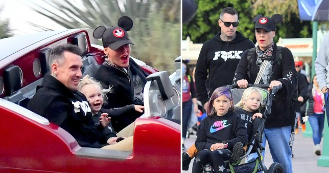 Pink and Carey Hart are the coolest parents ever as they hop on rides in Disneyland with the kids