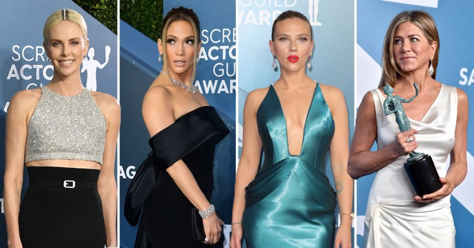 Charlize Theron, Jennifer Lopez, Scarlett Johansson and Jennifer Aniston at the SAGs
