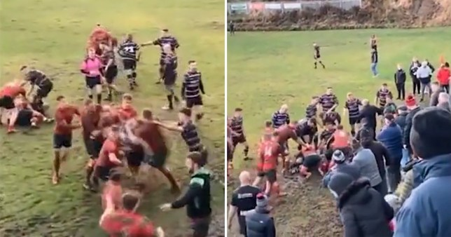 Four people were sent off after a mass Rugby brawl between rival teams