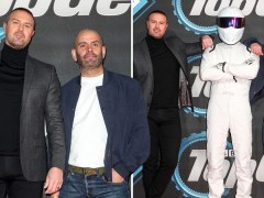 Paddy McGuinness and Chris Harris rub shoulders with The Stig for Top Gear premiere