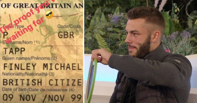 Love Island's Finley Tapp's passport proves he really is 20 after viewers accuse him of lying