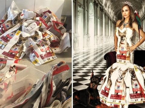 Woman turns 200 dog food bags into stunning dresses and swimwear