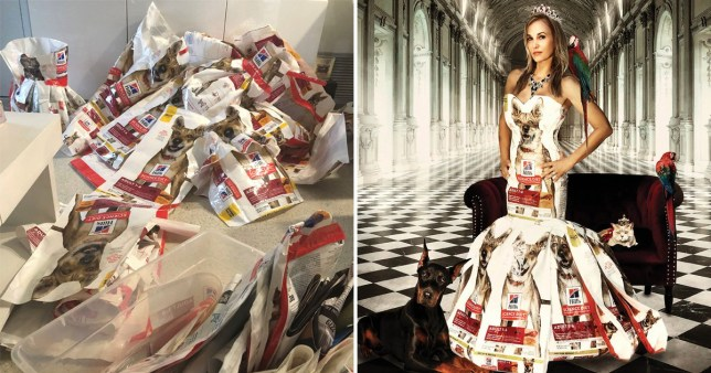 Woman turns dog food bag into dress