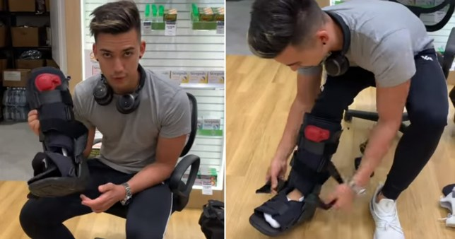 Youtuber Jamie Zhu putting on a fracture brace before boarding his flight