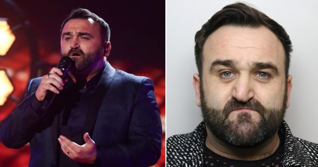 Danny Tetley's mugshot and him performing onstage.