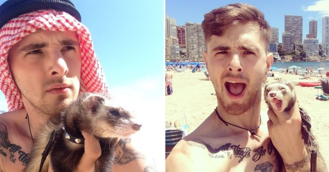 Grieving man sells everything to travel the world with his pet ferret