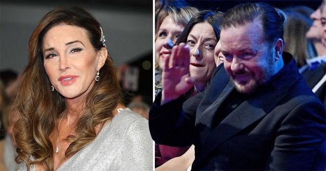 Caitlyn Jenner and Ricky Gervais