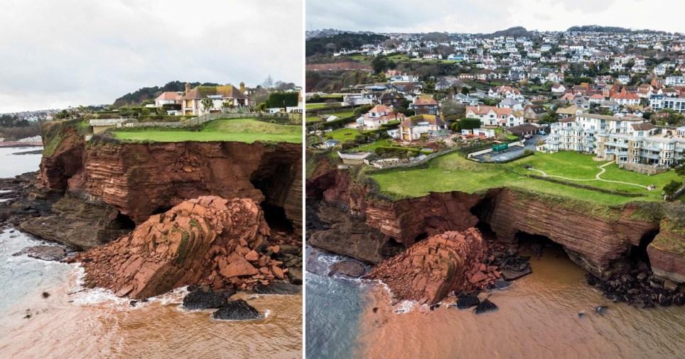 Cliff collapse in Devon