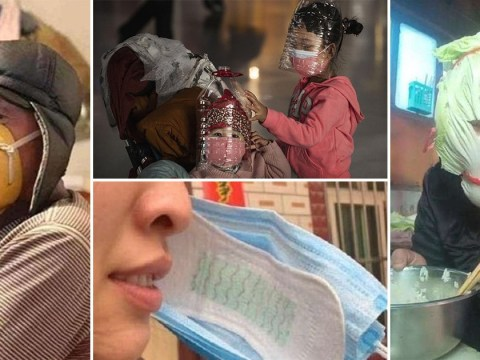 Sanitary towels, fruit, and bottles used as masks in desperate bid to avoid coronavirus