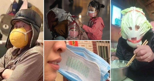 People are wearing pads, fruit and veg among other creative homemade solutions while facemasks are out of stock amid the coronavirus outbreak