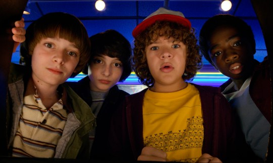 Noah Schnapp, Finn Wolfhard, Gaten Matarazzo and Caleb Mclaughlin Stranger Things