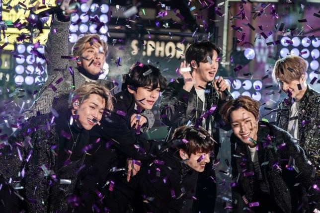 BTS performs during New Year's Eve celebrations in Times Square in the Manhattan borough of New York, U.S., December 31, 2019. REUTERS/Jeenah Moon