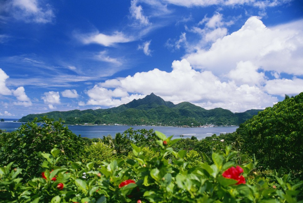 Mandatory Credit: Photo by Design Pics Inc/REX (2068582a) American Samoa, Pago Pago Harbor, greenery and flowers, clouds in sky VARIOUS