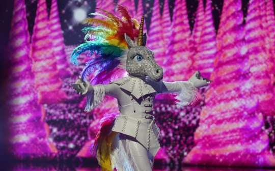 This image is strictly embargoed until 00.01 Wednesday 1st January 2020 From Bandicoot TV The Masked Singer: Ep1 on ITV Pictured: Unicorn performs. This photograph is (C) Bandicoot TV and can only be reproduced for editorial purposes directly in connection with the programme or event mentioned above, or ITV plc. Once made available by ITV plc Picture Desk, this photograph can be reproduced once only up until the transmission [TX] date and no reproduction fee will be charged. Any subsequent usage may incur a fee. This photograph must not be manipulated [excluding basic cropping] in a manner which alters the visual appearance of the person photographed deemed detrimental or inappropriate by ITV plc Picture Desk. This photograph must not be syndicated to any other company, publication or website, or permanently archived, without the express written permission of ITV Picture Desk. Full Terms and conditions are available on the website www.itv.com/presscentre/itvpictures/terms For further information please contact: james.hilder@itv.com / 0207 157 3052