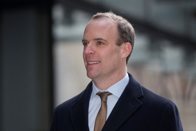Britain's Foreign Secretary Dominic Raab arrives at the BBC headquarters ahead of his appearance on the Andrew Marr show in London Britain January 5, 2020. REUTERS/Simon Dawson