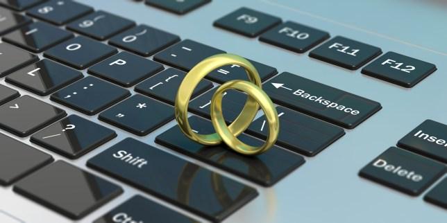 Wedding rings on laptop