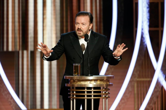Host Ricky Gervais speaking at the 77th Annual Golden Globe Awards