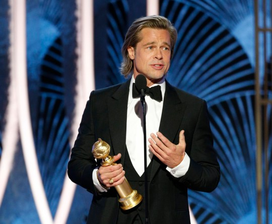 Brad Pitt winning Golden Globe 2020