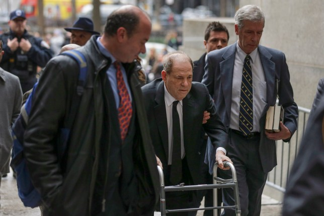 Harvey Weinstein, center, arrives at federal court, Monday, Jan. 6, 2020, in New York. The disgraced movie mogul faces allegations of rape and sexual assault. Jury selection begins this week. (AP Photo/Seth Wenig)