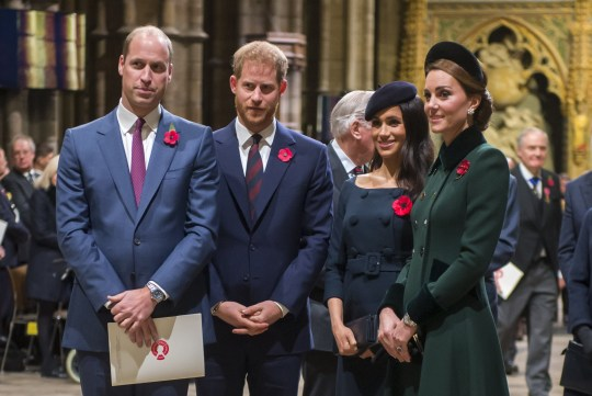 (FILE PHOTO) Prince Harry, Duke of Sussex and Meghan, Duchess Of Sussex have announced they are to step back as Senior Royals and say they want to divide their time between the UK and North America. LONDON, ENGLAND - NOVEMBER 11: Prince William, Duke of Cambridge and Catherine, Duchess of Cambridge, Prince Harry, Duke of Sussex and Meghan, Duchess of Sussex attend a service marking the centenary of WW1 armistice at Westminster Abbey on November 11, 2018 in London, England. The armistice ending the First World War between the Allies and Germany was signed at Compi??gne, France on eleventh hour of the eleventh day of the eleventh month - 11am on the 11th November 1918. This day is commemorated as Remembrance Day with special attention being paid for this year??s centenary. (Photo by Paul Grover- WPA Pool/Getty Images)