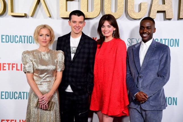 Gillian Anderson (left to right), Asa Butterfield, Emma Mackey, Ncuti Gatwa attending the Sex Education Season Two world premiere held at Genesis Cinema, London. PA Photo. Picture date: Wednesday January 8, 2020. See PA story SHOWBIZ Education. Photo credit should read: Ian West/PA Wire.