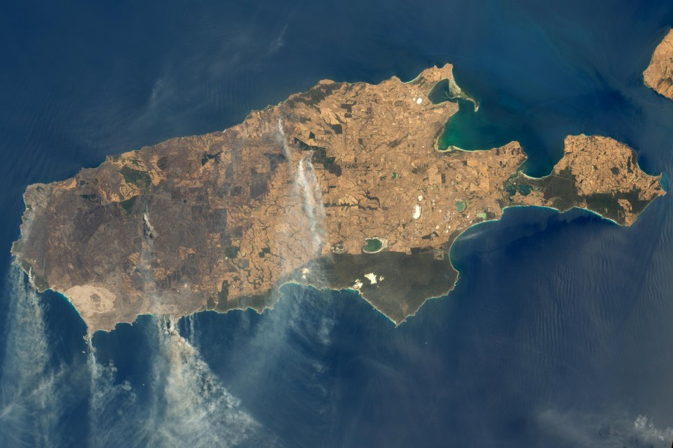 epa08115967 A handout photo made available by NASA Earth Observatory of a satellite image showing burned land and thick smoke over Kangaroo Island, Australia, 09 January 20202 (issued 10 January 2020). According to media reports, at least 156,000 hectares, nearly one-third of the land area, have burned and 50 homes have been destroyed on the island of 4,700 people. Kangaroo Island lies off the mainland of South Australia, southwest of Adelaide. About a third of the island is made up of protected nature reserves which are home to native wildlife which includes sea lions, koalas and diverse and endangered bird species, including glossy black-cockatoos which have been brought back from the brink of extinction over the last two decades. EPA/NASA EARTH OBSERVATORY HANDOUT HANDOUT EDITORIAL USE ONLY/NO SALES