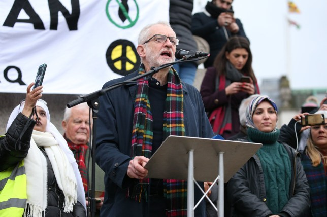 Labour leader Jeremy Corbyn addresses protesters at a Campaign for Nuclear Disarmament demonstration against a possible war with Iran in Trafalgar Square, central London. PA Photo. Picture date: Saturday January 11, 2020. See PA story POLITICS Iran. Photo credit should read: Jonathan Brady/PA Wire