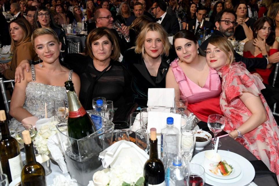 Florence Pugh, Amy Pascal, Greta Gerwig, Beanie Feldstein, and Saoirse Ronan