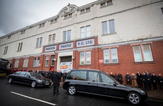 The funeral cortege of Euromillions winner Colin Weir passes Partick Thistle's Firhill Stadium on its way to the funeral service at Partick Burgh Hall in Glasgow. PA Photo. Picture date: Tuesday January 14, 2020. Mr Weir and his then-wife Chris, from Largs in North Ayrshire, claimed the ??161 million EuroMillions jackpot in July 2011, the highest amount handed out in the UK at the time. See PA story FUNERAL EuroMillions. Photo credit should read: Jane Barlow/PA Wire