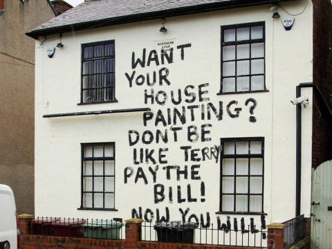 Painter names-and-shames client who 'owes £500' by daubing pub with graffiti