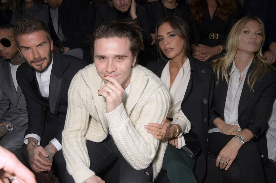 PARIS, FRANCE - JANUARY 17: (L to R) David Beckham, Brooklyn Beckham, Victoria Beckham and Kate Moss attend the Dior Homme Menswear Fall/Winter 2020-2021 show as part of Paris Fashion Week on January 17, 2020 in Paris, France. (Photo by David M. Benett/Dave Benett/Getty Images)
