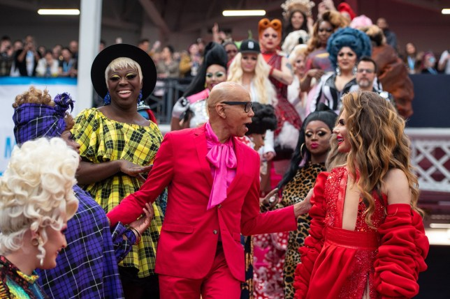 RuPaul with performers at RuPaul's DragCon UK convention at Olympia, Kensington, London. PA Photo. Picture date: Saturday January 18, 2020. Photo credit should read: Dominic Lipinski/PA Wire