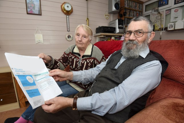 Tom and Margaret Anne McMellon with their bill for ??1 from British Gas. See SWNS story SWLEbill; A retired couple were shocked when they received their gas and electric bill - but they owed just 1p.Tom, 72, and Ann McMellon, 70, couldn???t believe what they were reading when they opened the letter to discover the outstanding amount. To add to the confusion, the disgruntled couple claim they???d only just paid their bill amounting to ??500 - and they don???t intend to pay a penny more. Ann, from Freckleton, Lancs, said: ???We had just paid the bill in full and it was over ??500. ???As far as I am concerned we do not owe anything else. ???I was shocked when I opened the bill and saw the amount owing and we did laugh a bit about it.???I phoned British Gas and they said they would raise it as a complaint. But we haven???t heard anything back yet.???
