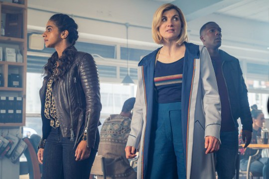 WARNING: Embargoed for publication until 00:00:01 on 21/01/2020 - Programme Name: Doctor Who Series 12 - TX: n/a - Episode: n/a (No. 5) - Picture Shows: PRE TX **STRICTLY EMBAROGED UNTIL 21/01/2020 00:00:01** Yaz (MANDIP GILL), The Doctor (JODIE WHITTAKER), Ryan (TOSIN COLE) - (C) BBC - Photographer: James Pardon
