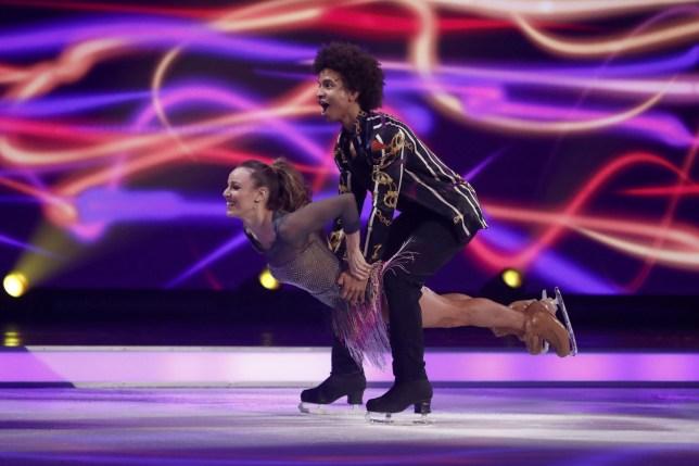 Editorial use only Mandatory Credit: Photo by Matt Frost/ITV/REX (10537850hz) Radzi Chinyanganya and Jessica Hatfield 'Dancing On Ice' TV show, Series 12, Episode 4, Hertfordshire, UK - 26 Jan 2020